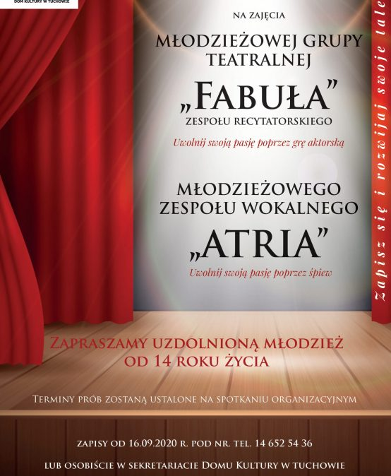 """Uwolnij swoje pasje poprzez śpiew lub grę aktorską! Dołącz do zespołu """"ATRIA"""" lub grupy teatralnej """"FABUŁA""""!"""