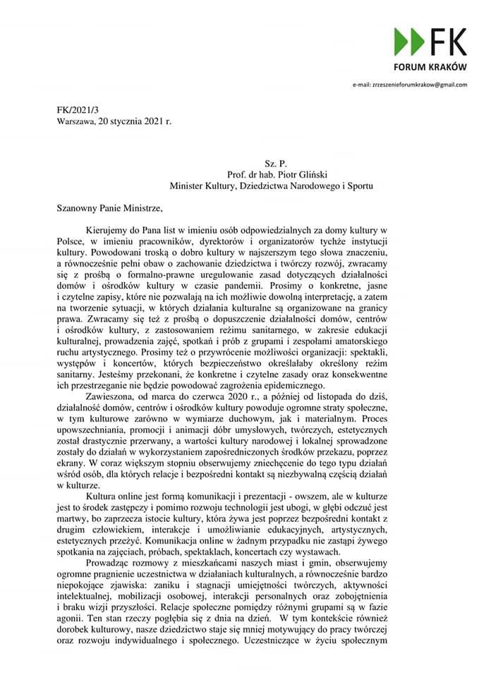Co z kulturą w dobie pandemii? Pismo do Ministra Piotra Glińskiego!